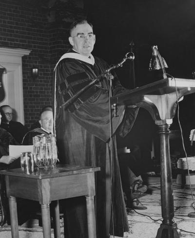 Crabb, Alfred L., Sr., pictured speaking at Summer 1948 Commencement in Memorial Hall Amphitheatre, Photographer: Public Relations Department
