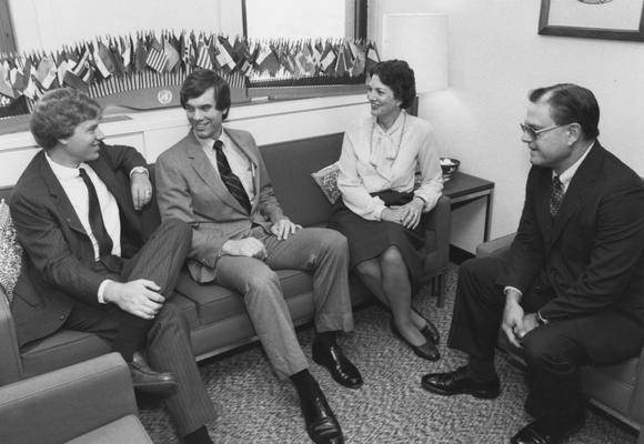 Davis, Vince, Professor, Political Science Department, pictured right with  (from left) Michael Baumberger, Parker, and Sylvia Cherry, also he was the Director of the Patterson School of Diplomacy and International Commerce