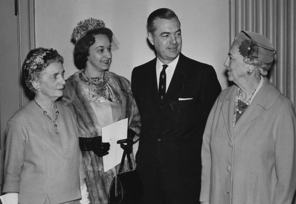 Dickey, Frank G., President, University of Kentucky, 1956 - 1963, Dean, College of Education, pictured with spouse, Betty Dickey and other unidentified family members, photographer: Lexington Herald - Leader Staff