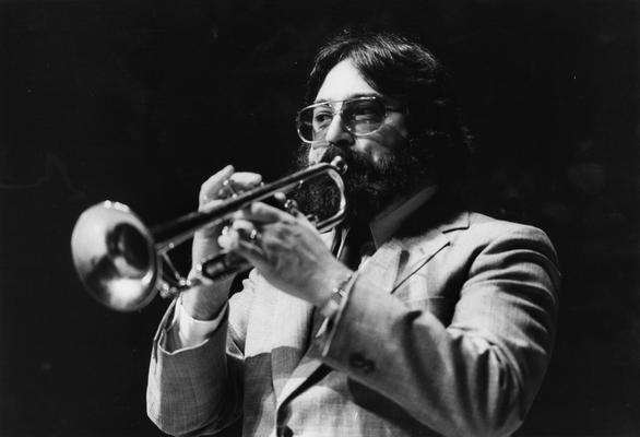 DiMartino, Vincent, Professor, Department of Music, Professional jazz trumpet player, band leader, pictured in Singletary Center, photographer: Lexington Herald - Leader Staff