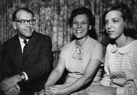Dowd, David L., Professor, History Department, pictured with his wife, Lyla and daughter Sandrette
