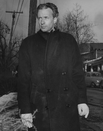 Fowler, Frank, Professor of Theater Arts, Director of Guignol Theater, pictured at Guignol Theater fire, February, 1947, Photographer W. E. Sutherland