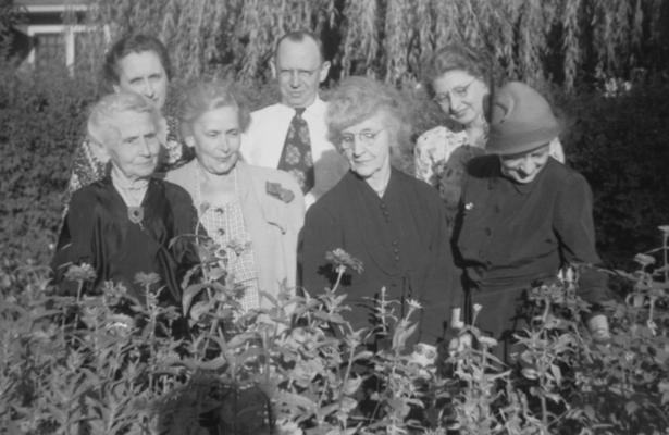 Funkhouser, William D., Photo of Mrs. Hugh Clark Funkhouser (far left), mother of W. D. Funkhouser and Josephine (back right), wife of W. D. Funkhouser, pictured with other unidentified individuals