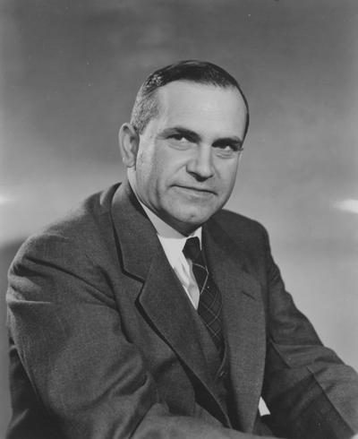 Garrigus, Wesley Patterson, birth 1909, Instructor and Professor of Animal Husbandry 1937-1974, Head of Department of Animal Husbandry 1959-1974, Associate Director of Experiment Station 1937-1962, Photographer: Lafayette Studios