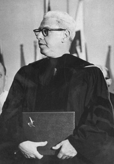 Goldberg, Arthur, United States Ambassador to United Nations, speaking at University of Kentucky on Founders' Day Convocation and receiving honorary degree, February 1966, photographer: Lexington Herald - Leader staff