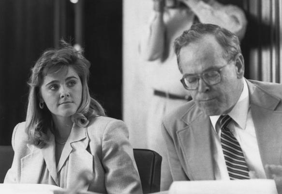 Greenwell, Donna, Alumna,, First female Student Government Association President, pictured at Board of Trustees meeting, pictured with David R. Driscoll