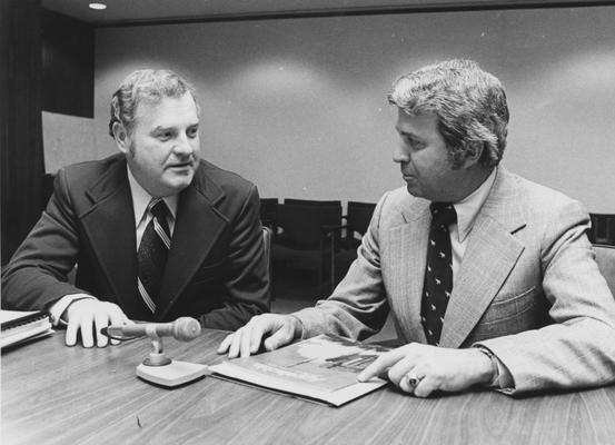 Griffin, George W., Member of Board of Trustees, 1968 - 1981; 1983 - 1989 pictured  (right) with Paul Sears, faculty BOT member, University Information Services
