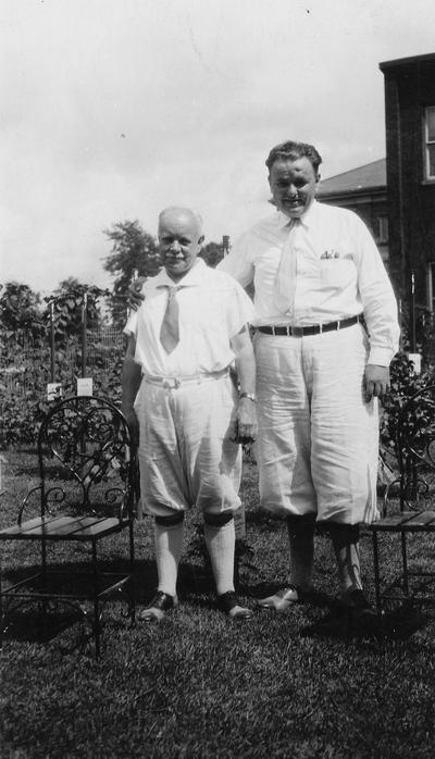 Anderson, F. Paul, Dean of Mechanical Engineering, 1892 - 1918, Dean of Engineering, 1918 - 1934, birth 1867, death April 8, 1934, Anderson with unidentified man