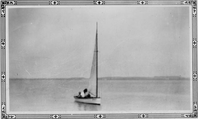 Anderson, F. Paul, Dean of Mechanical Engineering, 1892 - 1918, Dean of Engineering, 1918 - 1934, birth 1867, death April 8, 1934, Photo of sailboat with several people