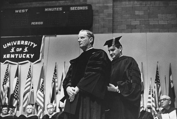 Arthur, William B., 1937 alumnus, Receiving honorary degree in 1966 from Dr. Glenwood Creech