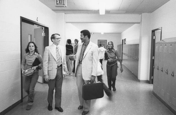 Hanley, Alvin, C., Director of Minority and Disadvantaged Recruitment in the halls at a Louisville High School