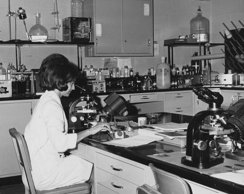 Hart, Judy, Technician at the Hemotology Laboratory at the University of Kentucky Medical Center, Photographer: Commonwealth of Kentucky Department of Public Information, Frankfort, Kentucky