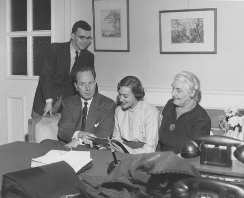Holmes, Sarah Bennett, born 1886, University of Kentucky Dean of Women 1944-1957, From Left to Right: Standing: Leslie Morris Jr., Dean Leslie L. Martin, Dean of Men; Mary Holmes Kauffman; Sarah Holmes