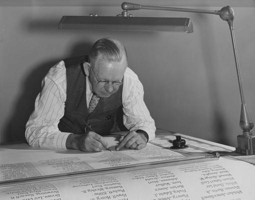 Horine, John Sherman, Professor of Mechanical Engineering, photograph by John B. Kuiper, Public Relations Department