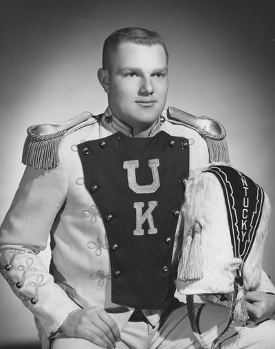 Mahan, James R., 1967 alumnus, Drum Major in band, photograph by Bedford Studio, from Public Relations Department