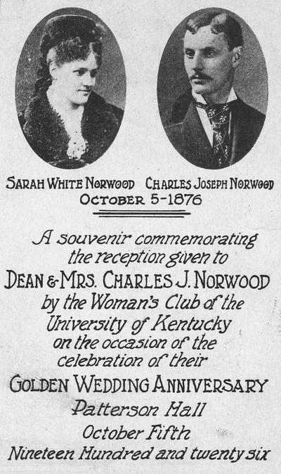 Norwood, Charles J., birth 1853, death 1927, Dean of College of Mining and Metallurgy 1901-1918, pictured on an invitation with Sarah White, souvenir:  Golden Wedding Anniversary reception (October 5, 1926)
