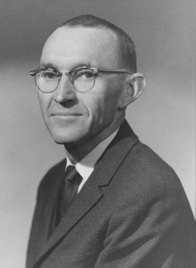 Overfield, Ernest, Instructor in English Department, photograph by Herb Schorpflin