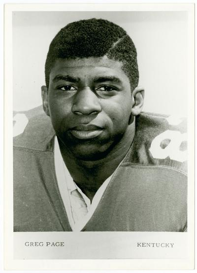 Page, Greg, one of the first African Americans to play football for the University of Kentucky, he was fatally injured during football practice due to a tragic accident, the University of Kentucky honored him by naming Greg page Apartments after him