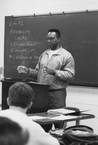 Parker, Steve, African American Assistant Professor of health, physical education and recreation in the College of Education, from March 5, 1992 Communi-K