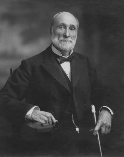 Patterson, James Kennedy,  b.1833-d.1922, the first President at the University of Kentucky 1879-1910, and Presiding Officer 1968-1878, pictured seated with walking stick