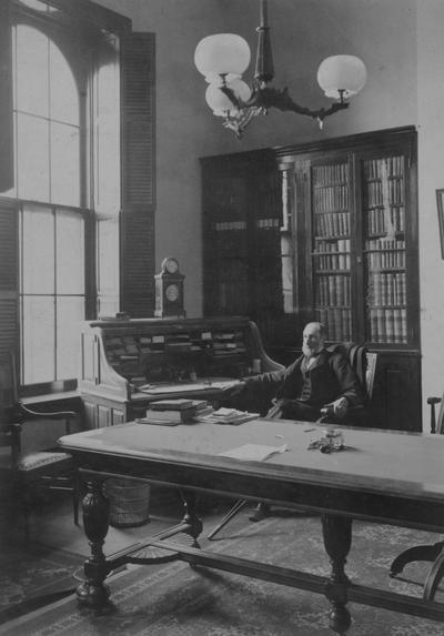 Patterson, James Kennedy,  b.1833-d.1922, the first President at the University of Kentucky 1879-1910, and Presiding Officer 1968-1878, pictured in his office in the Administrative Building