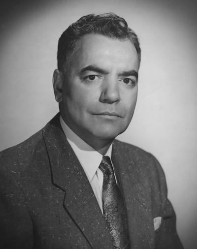 Blyton, Gifford, Professor, Speech Department, Coach of the Debate Team, 1948 - 1969, Public Relations Department, photographer: Bedford Studio