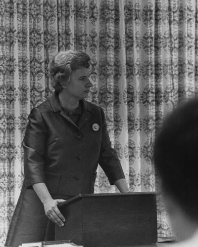 Peden, Katherine, she was the democratic candidate for the United States Senate seat from Kentucky who spoke and introduced Senator Edmund Muskie, Vice Presidential candidate who spoke while visiting the campus