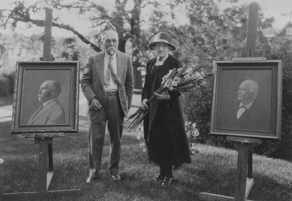 Peter, Alfred Meredith, birth 1857, death 1953, Chemist-Experiment Station 1880-1934, Emeritus Professor of Soil Technology, pictured with his sister at his retirement party, to the left of Dr. Peter is his portrait, and to the right of his sister is his father, Robert Peter