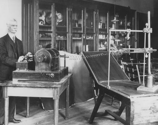 Pryor, Dr. J. W., Professor of Anatomy,  pictured in Kentuckian 1908 p. 175, pictured with a X-Ray machine, pg. 40