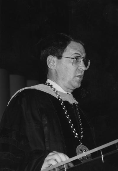 Roselle, President David P., University of Kentucky President 1987-1989, pictured at 1988 Commencement