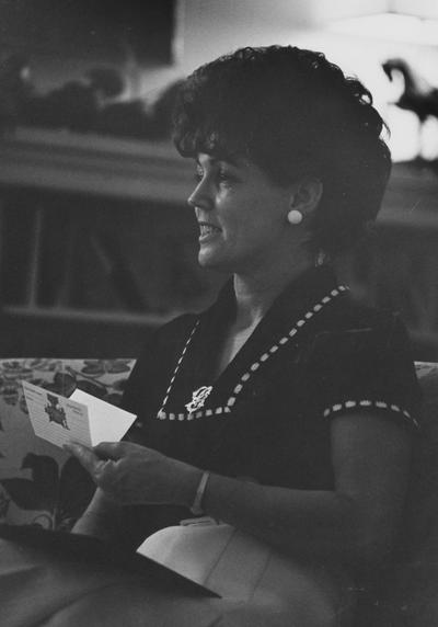 Singletary, Gloria, spouse of President Otis Singletary, pictured in the library at Maxwell Place, duplicate in general print file