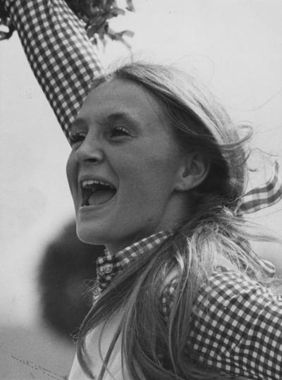 Sledd, Barbara, University of Kentucky Cheerleader, Lexington Herald Leader Photograph by John C. Wyatt