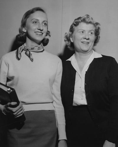 Bower, Ann, Alumna, Recipient, Junior League Speech Award, 1958, pictured (left) with Ramelle Patterson (right)