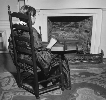 Bower, Nancy, of Jessamine County, seated in a chair brought to Kentucky in 1779 by a group of settlers headed by Daniel Boone; chair was located at the the time of the print at the Waveland Historic Site, Lexington