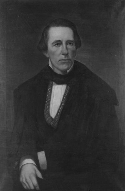 Bradford, Laban Johnson, 1865 - 1892 member of Board of Trustees, Photograph of painted portrait of Bradford