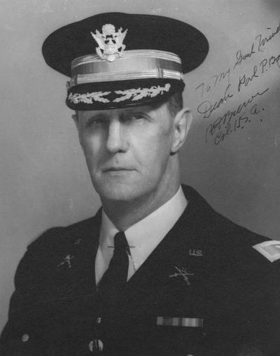 Brewer, Colonel Boltos E., Professor, Military Science, photograph signed by Col. Brewer