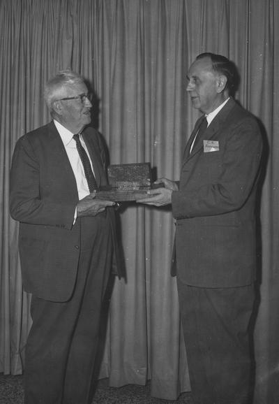 Terrell, Daniel V., Dean of College of Engineering 1946-1957, Professor of Engineering 1917-1946, Emeritus 1957-, pictured with C. K. Hoffman