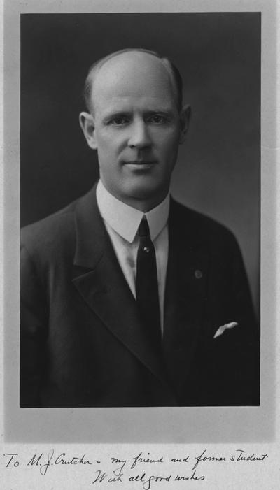 Tigert, J. J., Professor of Philosophy and Education 1911-1915, Football Coach 1915-1917,  Professor of Philosophy 1917-1921, picture made to M.J. Crutcher; a former friend and student to Tigert, photograph by J.E. Purdy and Company, Boston