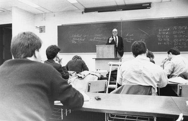 Ulmer, Sidney, Professor of Political Science pictured teaching class, photograph by Chuck Perry