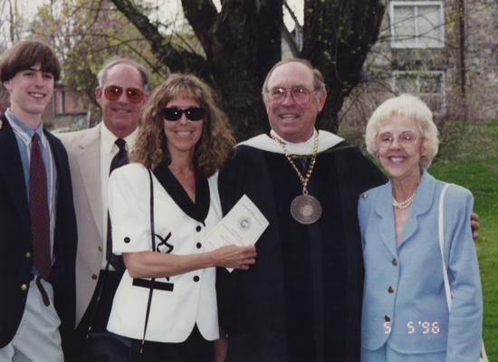 Whalen, S. J. Sam, Professor of Metallurgical Engineering, pictured from left to right; Grandson, unknown man, daughter, Whalen, and Millie Whalen (wife)