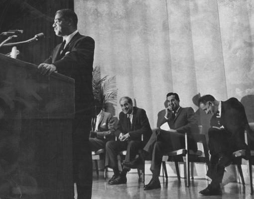Young, Dr. Whitney Jr., Executive Director of National Urban League 1961-1971, Kentucky State Graduate 1941, Education in Civil Rights, native of Simpsonville, pictured at Fall Convocation on far right