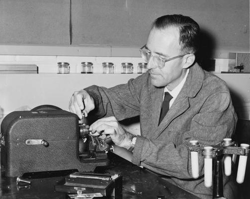 Browne, Edward T., Jr., Professor, Department of Botany (now Horticulture), working in lab, Kentucky Research Foundation, photograph from Director of Publications, March 7, 1967
