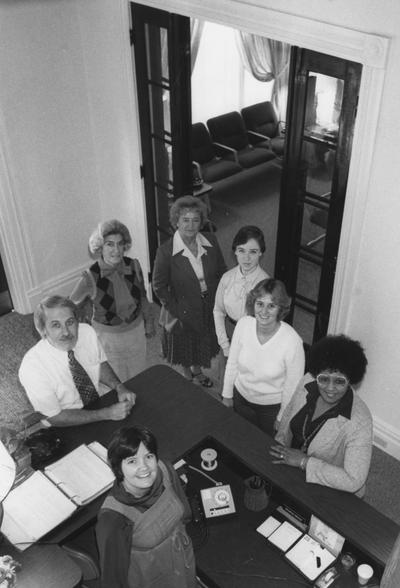 Bruce, Sharon M., Staff employee for the Student Temporary Employee Placement Service (STEPS) in the Department of  Human Resources, photograph featured in October 1981