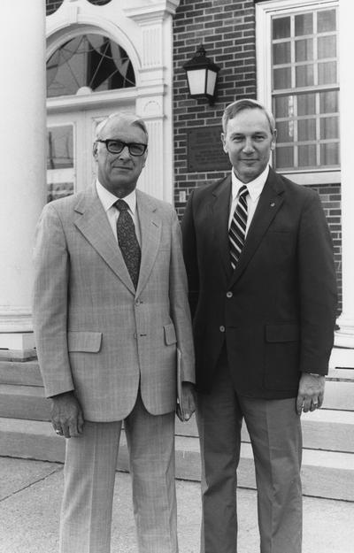 Brumfield, Edward Jay, Director, Alumni Affairs, pictured with Dick Womack (right), President of Alumni Assocation