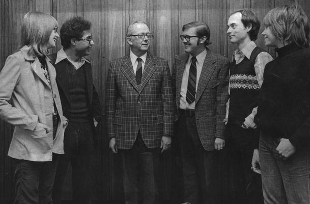 Bryant, Joseph A., Jr., Professor, English Department, pictured with (left to right) Susan Dunn, Abderrazah Dahmane, Bryant, Kennedy Williams, Philip Barnard, Susan Noel