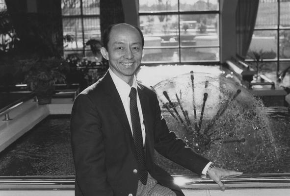 Kao, David, Professor of Civil Engineering, Head of the Water Resources Research Institute, pictured standing near the Fountain in the Marriot Hotel, photographer: Photographic Services Negative File-Regular Series # 26444
