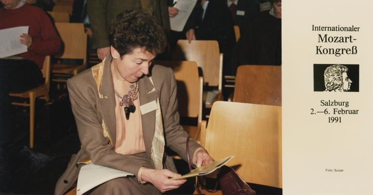 Longyear, Rey M., Musicologist, Professor, School of Music, 1964 - 1994, b. 1930 - d. 1995; Katherine Longyear, spouse of Dr. Longyear, pictured at the Internationaler Mozart-Kongreb in Salzburg, Austria, February 2 - 6, 1991