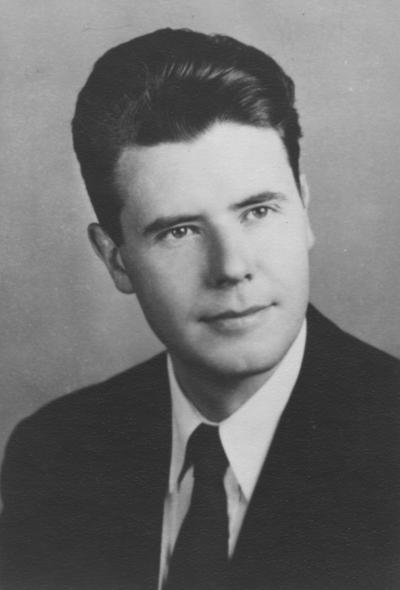 Henderson, Hubert, Professor and Chair, School of Music, Dean of College of Fine Arts, University of Kentucky, 1965-1989; Director of Bands, Montana State University, 1954-55; Director of Bands, University of Maryland, 1955-1965; portrait print photograph as college graduate, 1941