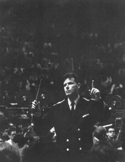 Henderson, Hubert, Professor and Chair, School of Music, Dean of College of Fine Arts, University of Kentucky, 1965-1989; Director of Bands, Montana State University, 1954-55; Director of Bands, University of Maryland, 1955-1965; shown conducting University of Maryland Concert Band at the American Bandmasters Association Convention, University of Marlyand campus, March 4, 1965