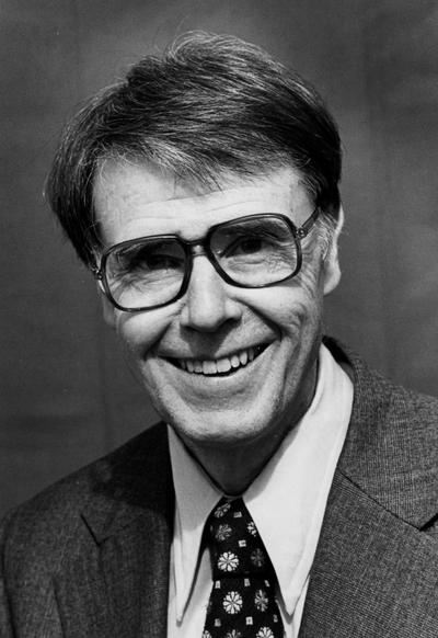 Henderson, Hubert, Professor and Chair, School of Music, Dean of College of Fine Arts, University of Kentucky, 1965-1989; Director of Bands, Montana State University, 1954-55; Director of Bands, University of Maryland, 1955-1965; portrait print photograph, 1985